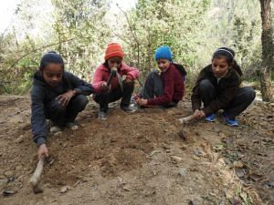 Class V children gardening as part of their environmental science course. (Source: Chirag School)