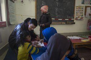 Govind Da, a CLass 1 teacher, with students. (Source: Chirag School)