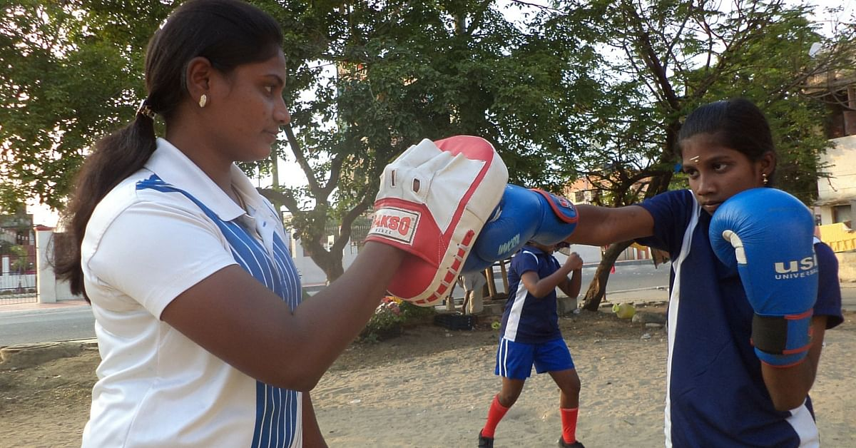 Coach, J. Narmada, 23, who teamed up with Magic Bus, trains primary and secondary school girls for free week-after week. (Source: Hema Vijay\WFS)