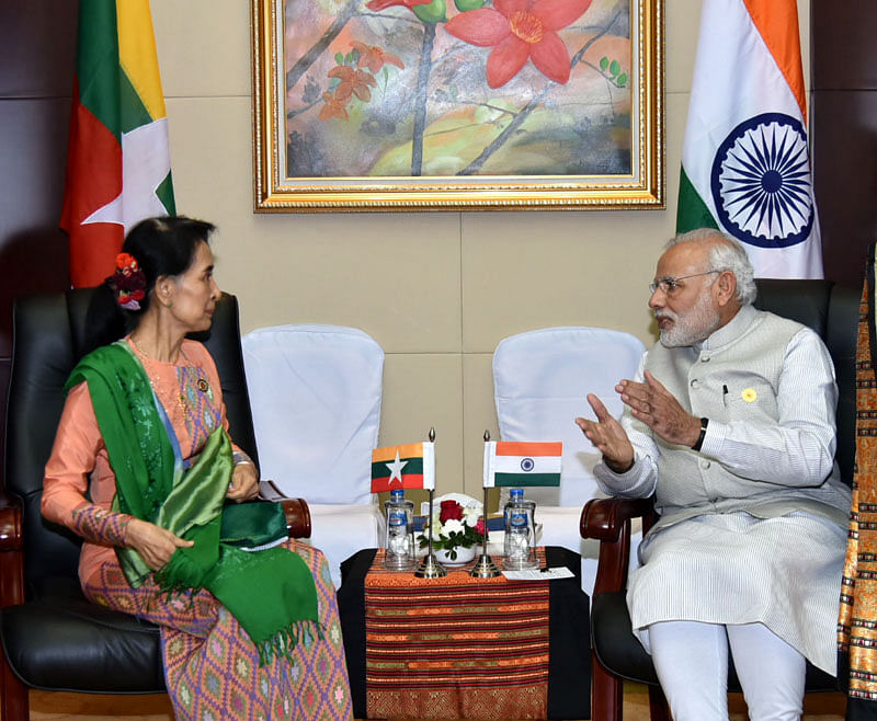 Indian Prime Minister Narendra Modi with State Counsellor of Myanmar Aung San Suu Kyi (Source: Wikimedia Commons)
