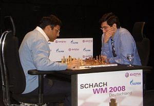 Viswanathan Anand versus Vladimir Kramnik in their 2008 encounter. (Source: Wikimedia Commons)