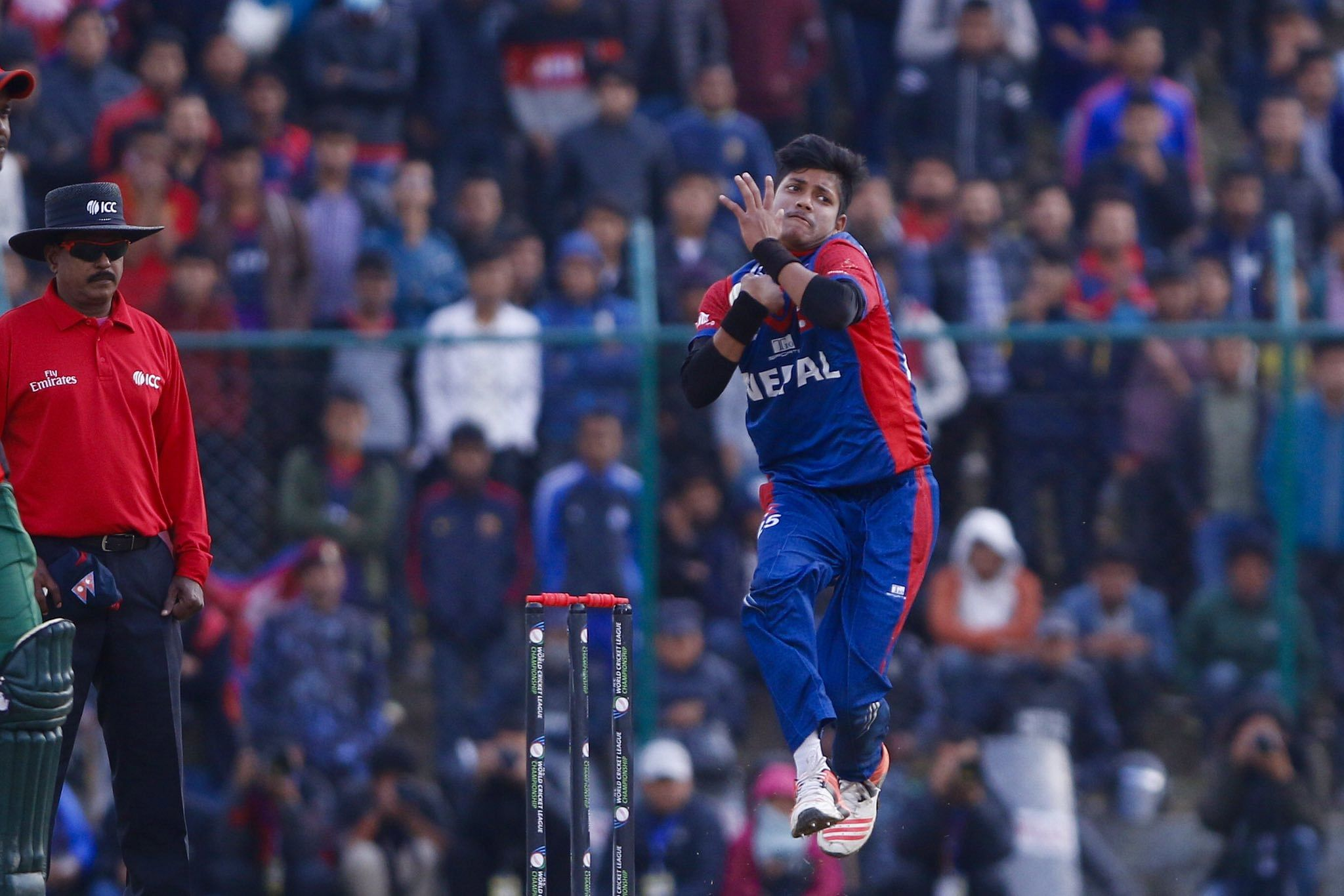 Sandeep Lamichhane in action. (Source: Twitter)