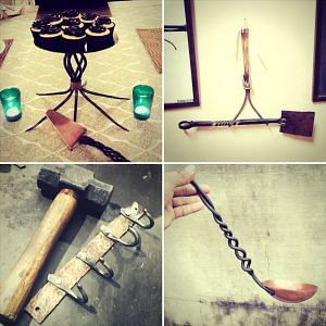 Clockwise from left- A cake-stand, a spatula, a ladle, and a key-hook. All built and forged by hand. Picture Courtesy:IRONic