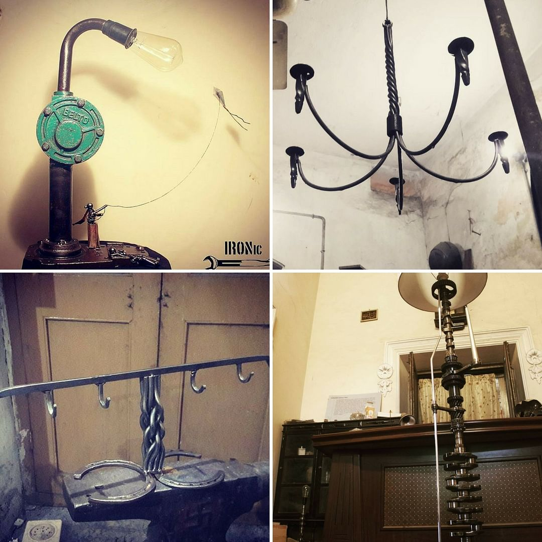 Clockwise from left- A table lamp, a hanging candle-stand, lamp-shade, and a key-hook. Hand-built, from scrap. Picture Courtesy: IRONic.