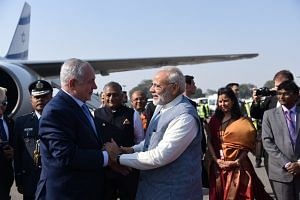 Indian Prime Minister Narendra Modi greeting his Israeli counterpart Benjamin Netanyahu in New Delhi. (Source: Twitter)