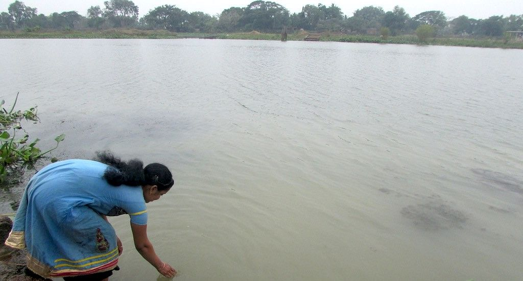 The pond water is made safe for consumption through pond sand filtration units. (Photo by Rakhi Ghosh)