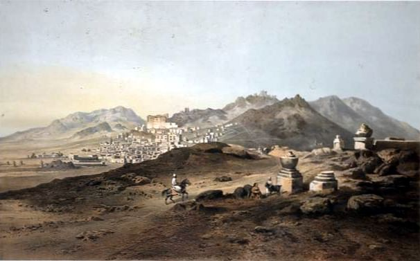 Leh, capital of Ladakh, crica 1857 (Source: Wikimedia Commons)