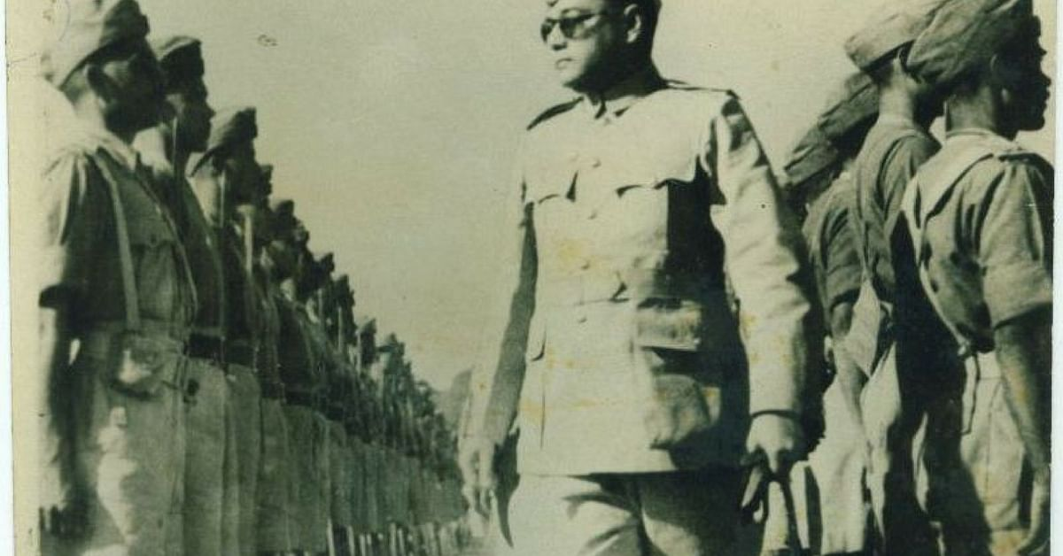 Netaji reviewing the troops of the Azad Hind Fauj. Picture Courtesy: Wikimedia Commons.