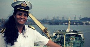 Captain Radhika Menon, of the Merchant Navy, to be felicitated as a first lady. Source: Twitter.