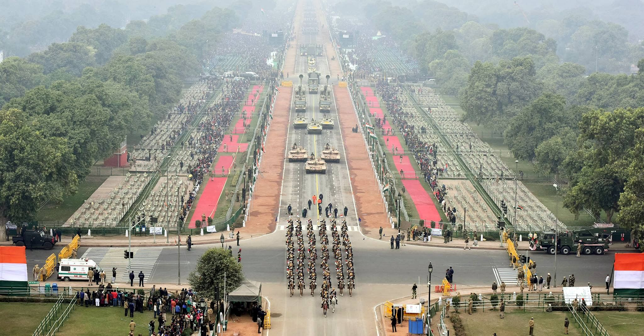 a birds eye view of rajpath during the full dress rehearsal for the republic day parade in new delhi on january 23 2018 source facebook