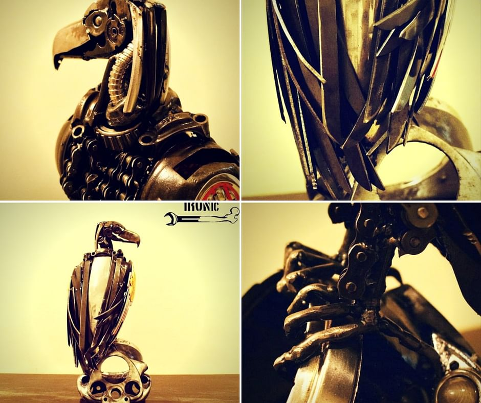 Scraptor, made using scrap tools, motorcycle parts and industrial waste. Picture Courtesy: IRONic