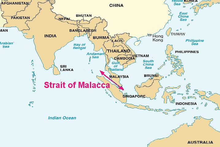 Straits of Malacca on the map (Source: Wikimedia Commons)