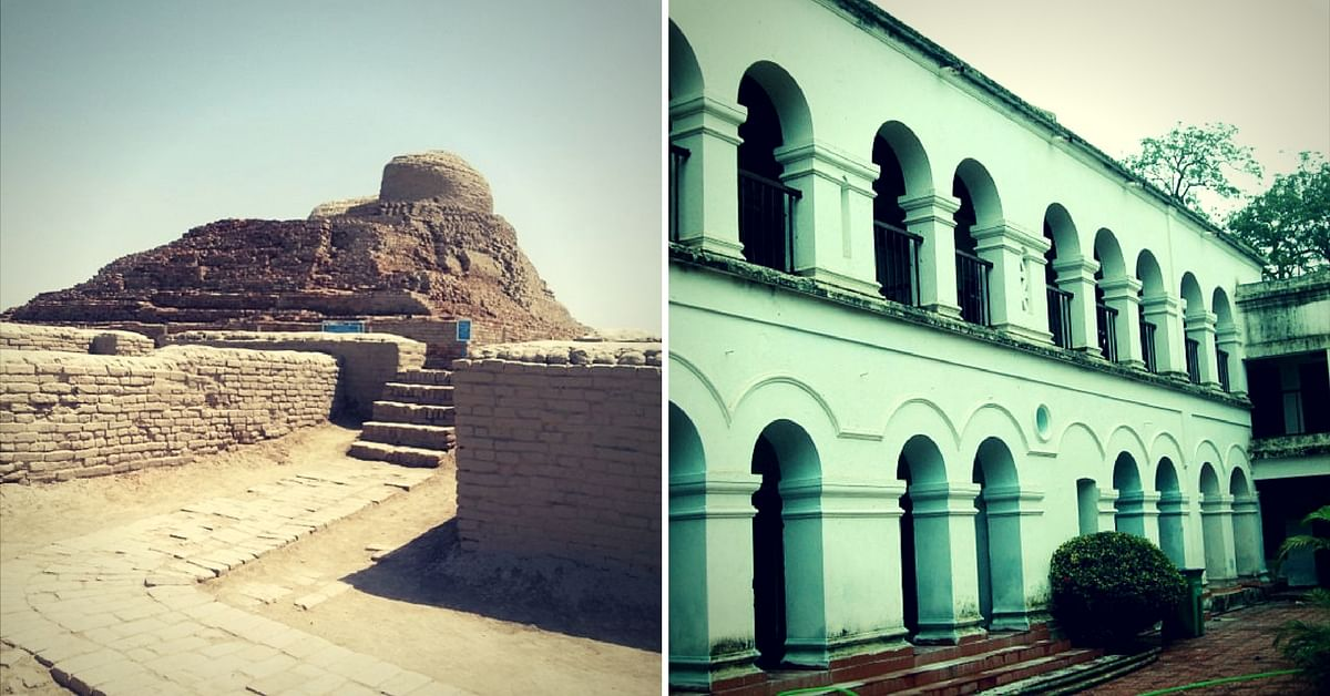 The ruins of a Buddhist Stupa (left), and the museum dedicated to Netaji (right)