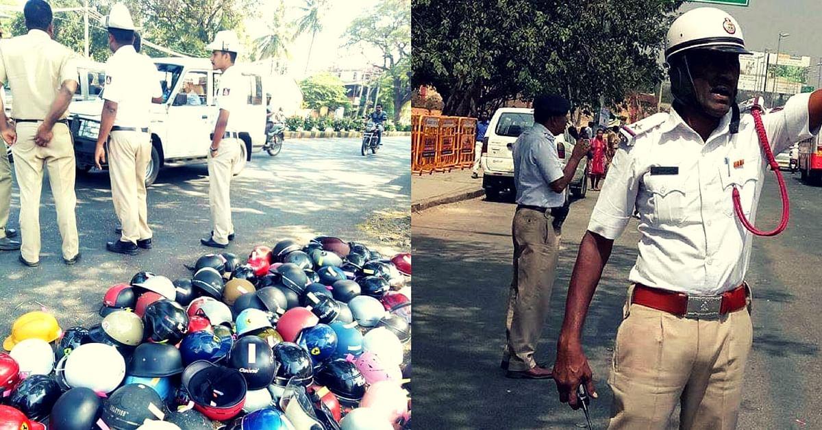 bengaluru helmetless cops