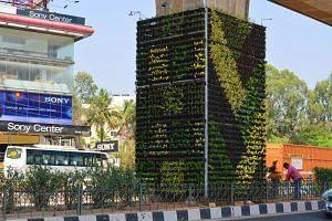 vertical gardens Delhi metro