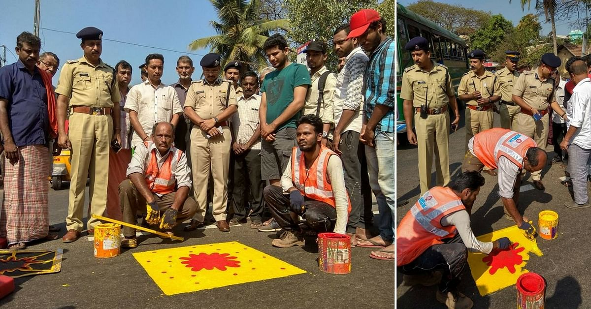 Kozhikode's New Idea To Prevent Road Accidents? A Yellow Square With a Red Spot!