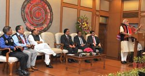 Prime Ministeri Narendra Modi addressing the signing ceremony of historic peace accord between Government of India & NSCN, in New Delhi on August 03, 2015. (Source: GoI)