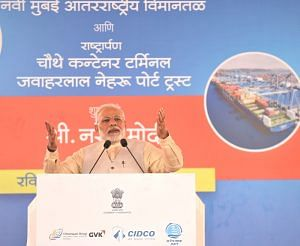 Prime Minister Narendra Modi addressing at the Ground Breaking Ceremony of Navi Mumbai International Airport on February 18. (Source: PMO website)