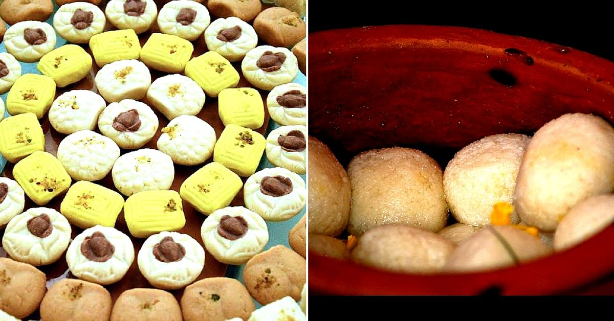 The Sandesh (left), and Rosogolla (right), are two must-haves, in Kolkata. Image Courtesy:Wikimedia Commons.