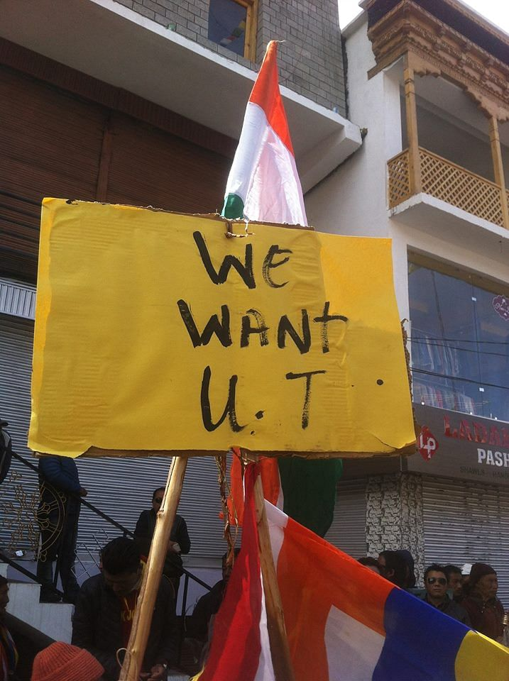 During a protest for Union Territory status in Leh. (Source: Facebook)