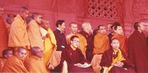 A rare photo of both HH Dalai Lama and Panchen Lama with Buddhist monks including Bakula Rinpoche in 1956. (Source: Facebook)