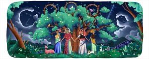 Google celebrating 45th anniversary of Chipko Movement with a doodle. (Source: Google)