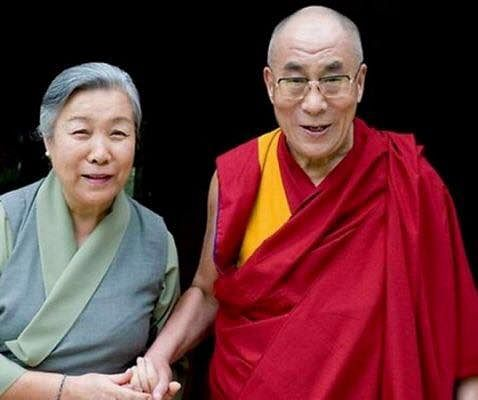 Ama Jetsun Pema with her brother His Holiness the 14th Dalai Lama. (Source: Facebook)