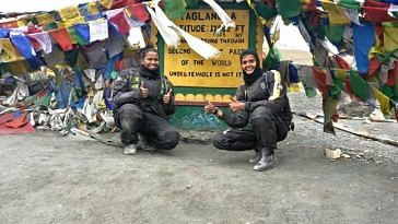 Amrutha and Shubra, made an epic journey, from Kanyakumari to Leh. Image Courtesy: The Long Highway.