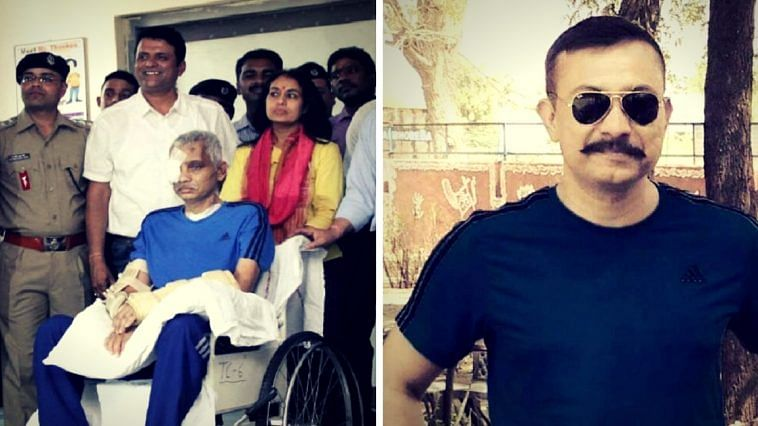 Chetan Kumar Cheetah. On the left, after his release from AIIMS. (Source: Facebook)