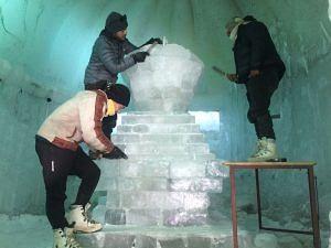 The three artists working on the Ice Chorten (Source: Tsering Gurmet)