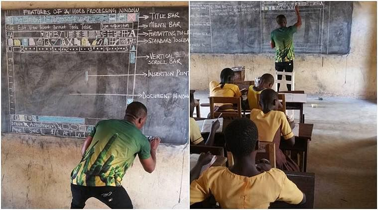 Richard Appiah Akoto teaching students Microsoft Word to students without a computer. (Source: Facebook)