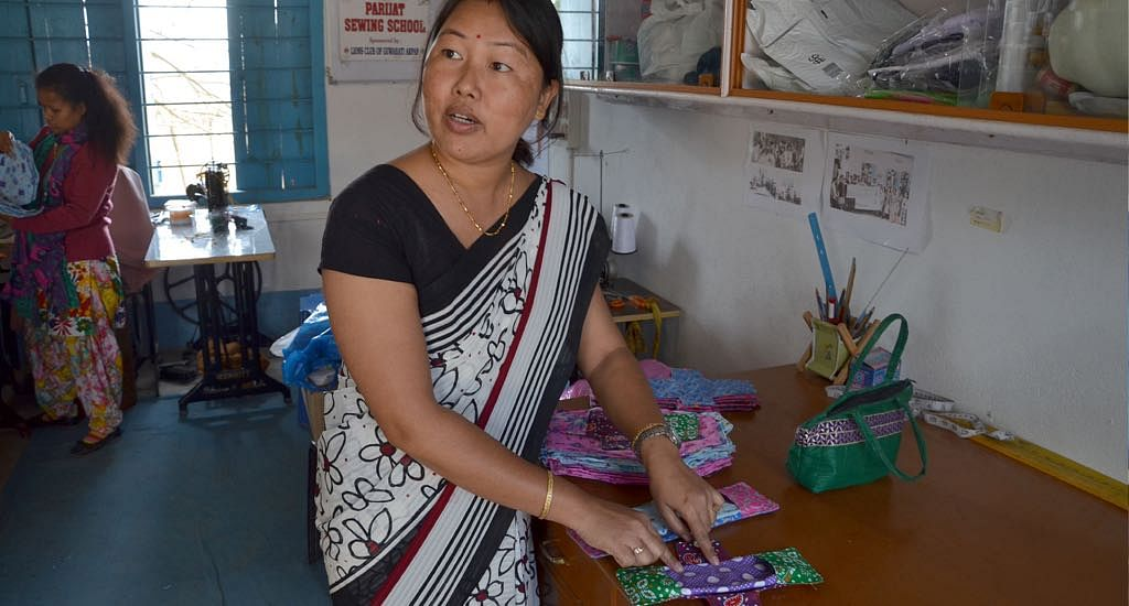 Aimoni Tumung of Parijat Academy played a key role in initiating better menstrual hygiene practices with reusable pads. (Photo by Abdul Gani)