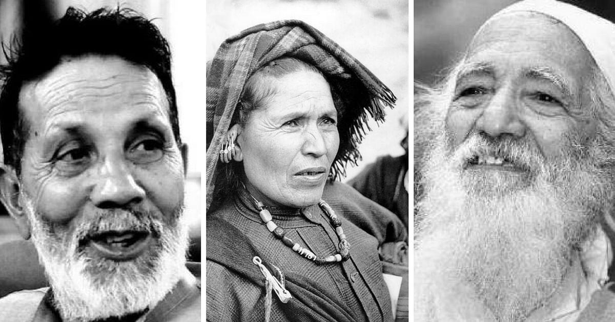 Key players in Chipko Movement (L-R): Chandi Prasad Bhatt, Gaura Devi, Sunderlal Bahuguna