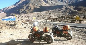 Shubra and Amrutha rode KTM Duke 390 motorcycles for their trip.Image Courtesy: The Long Highway.