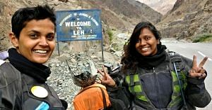 Shubra and Amrutha, somewhere in Leh. Image courtesy: The Long Highway.