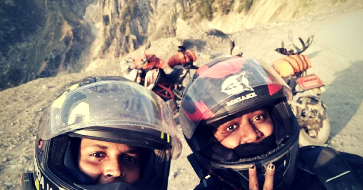 Shubra and Amrutha, with their bikes, somewhere along the way during their epic trip. Image Courtesy: The Long Highway.
