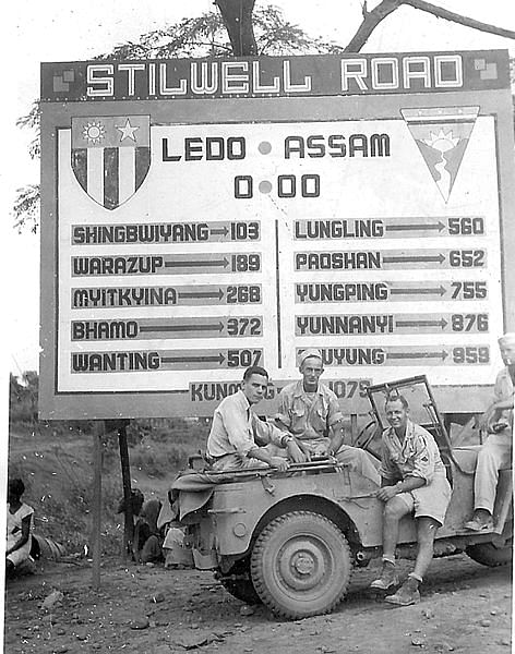 American GI's at the Stilwell Road sign in Ledo circa 1944-45. (Source: Wikimedia Commons)