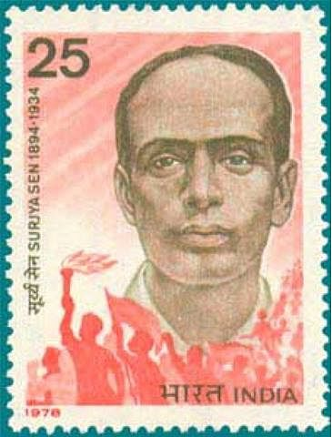 A postage stamp commemorating the life and legacy of Surya Sen. (Source: Facebook)