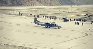 The first plane to land at Pakyong Airport- an IAF Dornier. Image Courtesy: Twitter.