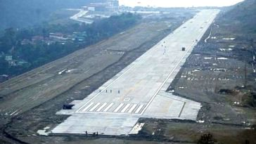 The picturesque runway of the Pakyong Airport in Sikkim. Image Credit: Soumen Mukherjee
