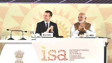 Prime Minister Narendra Modi and the President of the French Republic, Emmanuel Macron at the Founding Conference of the International Solar Alliance, at Rashtrapati Bhavan, in New Delhi on March 11. (Source: PIB)
