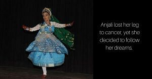 Anjali lost her leg to cancer, but never let it be a barrier to her dreams. (Image Courtesy: Cancer Centre Calcutta.
