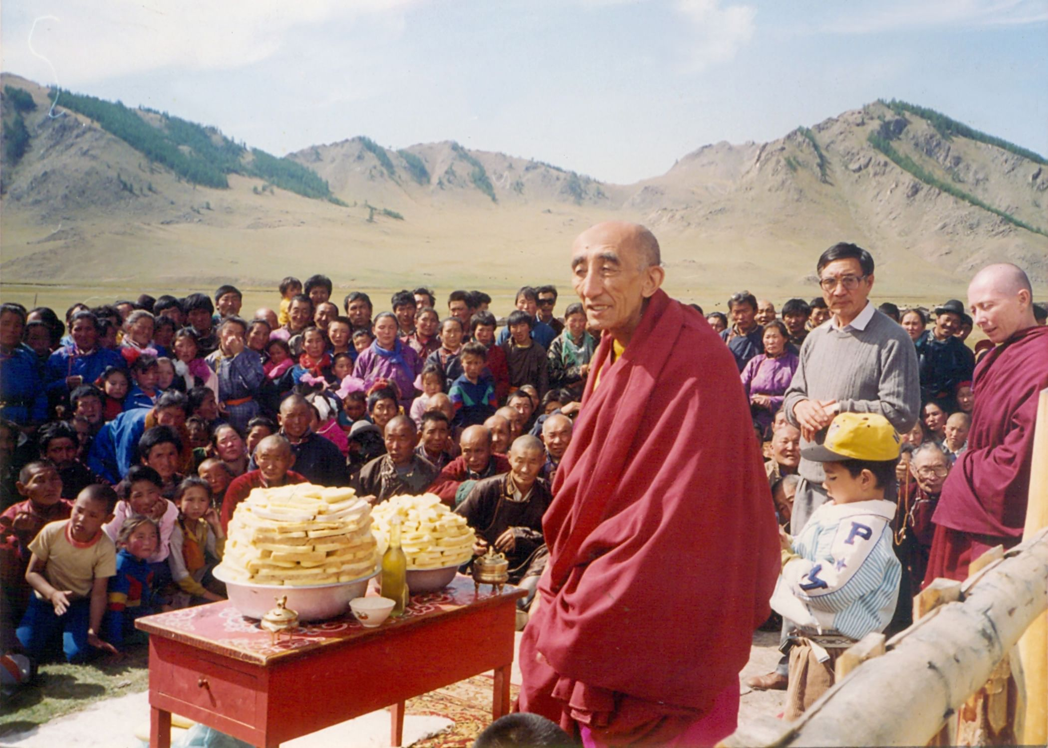 Rinpoche in the Mongolian countryside with his followers. (Source: Sonam Wangchuk)