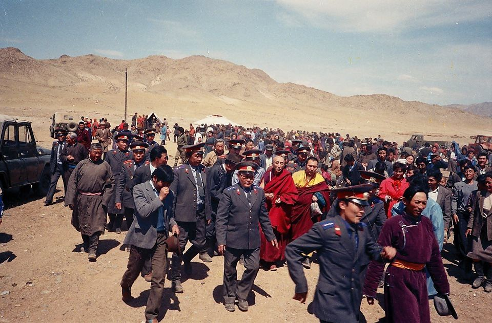 Bakula Rinpoche on a visit to the Mongolian countryside. (Source: Facebook)
