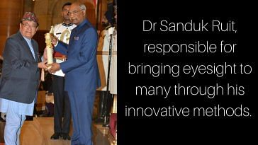 Dr Sandak Ruit, being awarded the Padma Shri by the President of India. Image Courtesy: Twitter