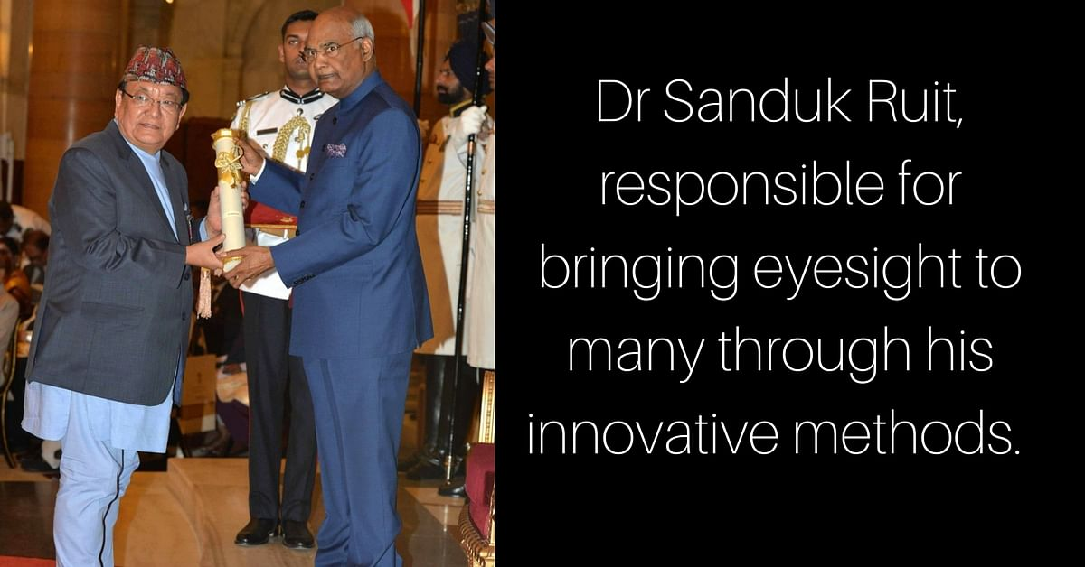 Dr Sanduk Ruit, being awarded the Padma Shri by the President of India, for his work with cataract patients. Image Courtesy: Twitter