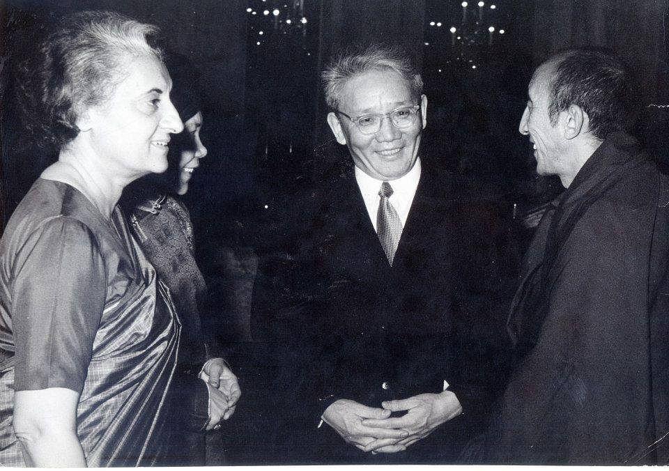 Prime Minister Indira Gandhi with her Mongolian counterpart U Tsedenbal and Kushok Bakula Rinpoche. (Source: Facebook)