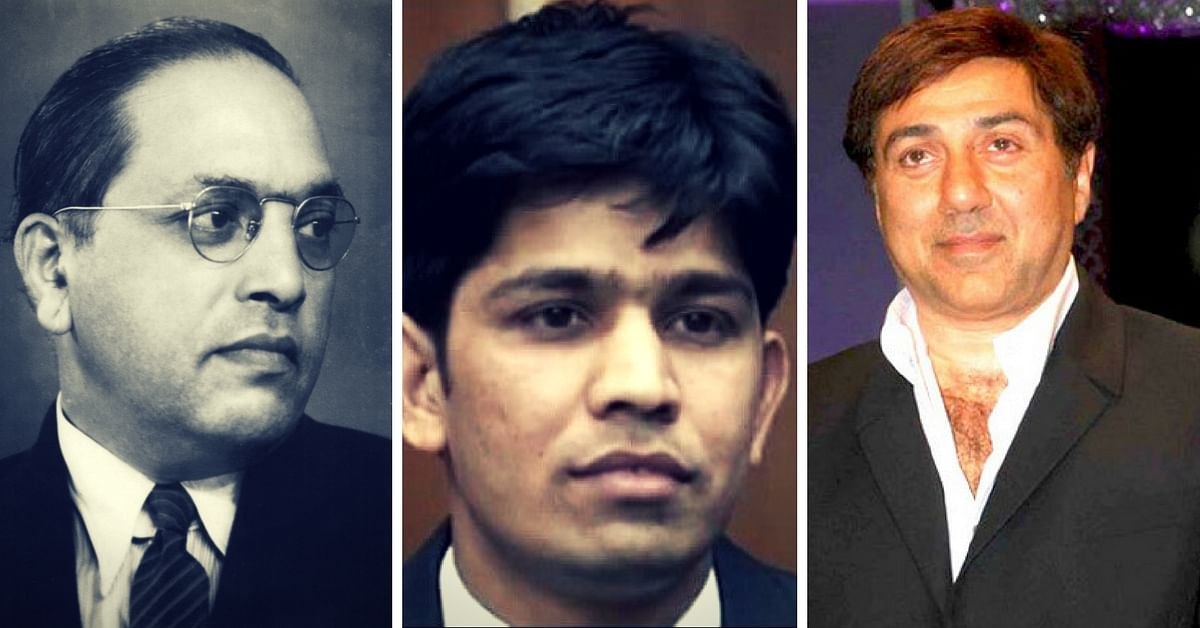 Inspired by BR Ambedkar (extreme left) and Sunny Deol (extreme right film), Manoj Kumar Rawat is now on the verge of becoming an IPS officer. (Source: Wikimedia Commons/Facebook)