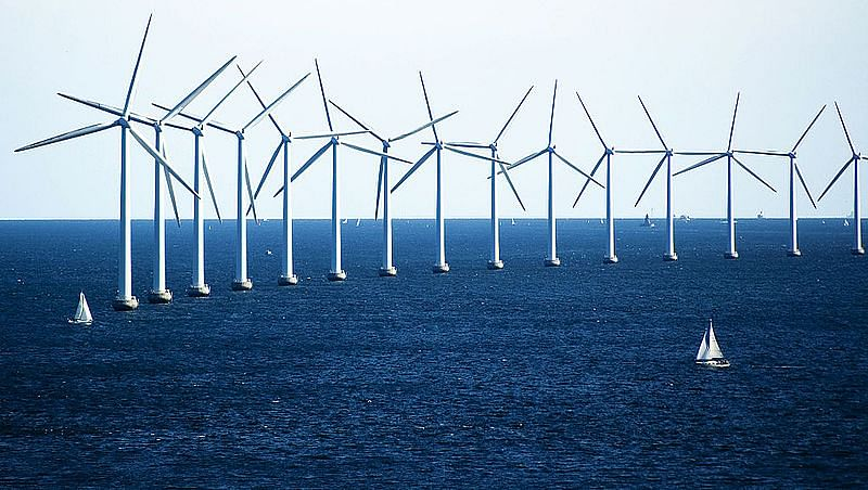 Wind farm off the coast of Denmark. (Source: Wikimedia Commons)