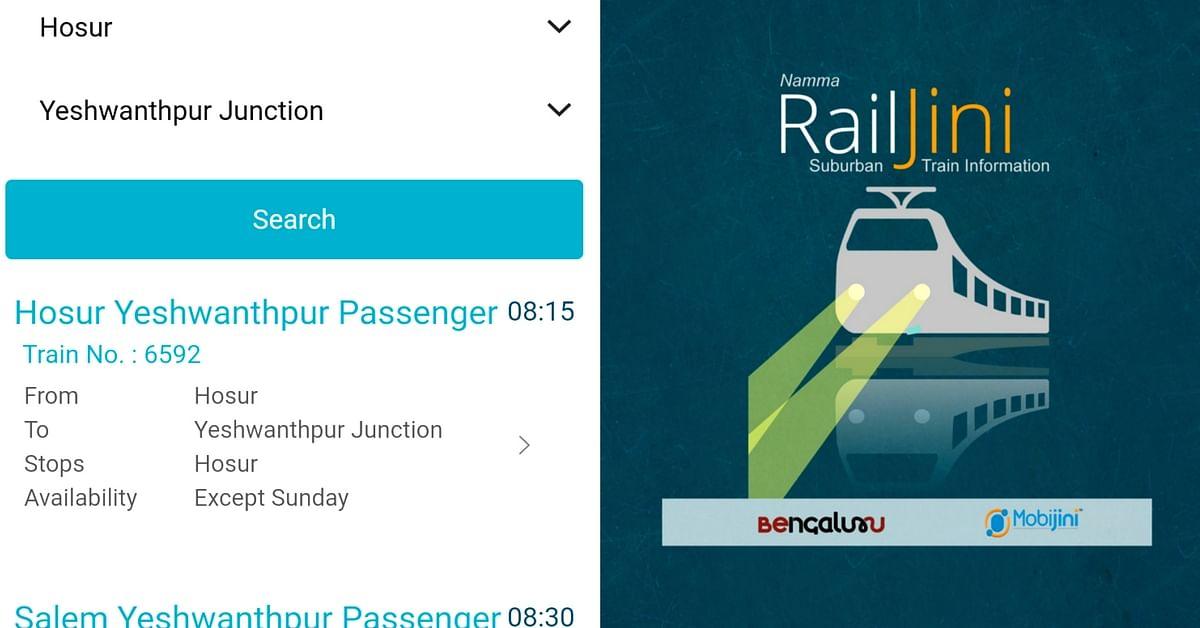 Now, all suburban and Metro details on the RailJini app for Bengaluru. Image Courtesy: RailJini App.